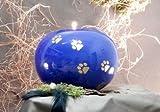 Kugelurne aus Keramik, blau glasiert, mit goldf. Pfötchenspuren, Vol. ca. 1,00 Ltr.