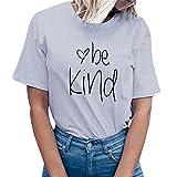 Linkay T Shirt Damen Langarm Bluse TopsBrief Drucken Oberteile Mode 2019 (Grau, Medium)