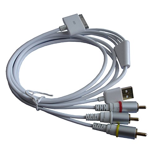 P45 Connector auf AV Video Out Kabel USB Datenkabel Apple iPhone 4 3S iPod iPad Ipod-video-out-kabel