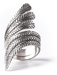 81stgeneration Women's .925 Sterling Silver Feather Leaf Adjustable Ring XoQiM7G