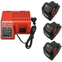 2X 18V 3000mAh batería & 1X Cargador Reemplace Milwaukee M18 M18B4 M18 XC 48-11-1828 48-11-1840 C18B M18BX Li18