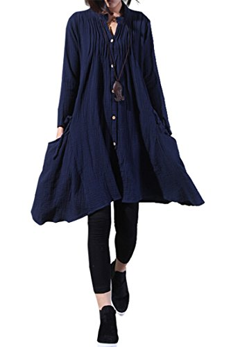 Azbro Cozy Linen Solid Women Long Sleeve Midi Dress Navy