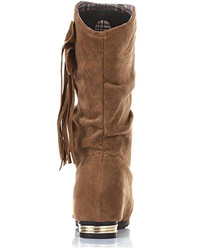 MEXI Frauen Wedge Flache Schuhe Stiefel aus Wildleder Bowknot-Frauen-Absatz-reizvolle Dame Boots Beige Tie Bow Pump Platform Ankle Schuhe Style-02-Gelb