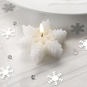 SET 3 Kerzen Winter Schneeflocke Decke Motivkerze