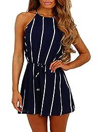 Internet Boho Jumpsuit, Damen Overall Sommerkleid Lace Druck mit  V-Ausschnitt Riemchen Jumpsuit Mode Frauen Ärmellos High Waist… 669d82d9c0