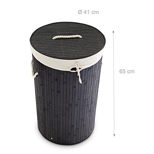 Relaxdays Runder Bambus Wäschekorb - 6