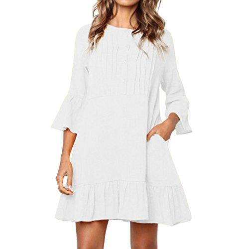 Damen Kleider,Kanpola Frauen Elegant Lange Ärmel Abendkleid Knielang Kleider Tunika Shirt Partykleid Cocktailkleid