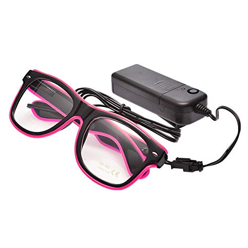 (UTOVME EL Leuchtbrille Party Club LED Leuchten Brillen Partybrille Eyeglasses Nicht blendet mit Batterie Box Pink)