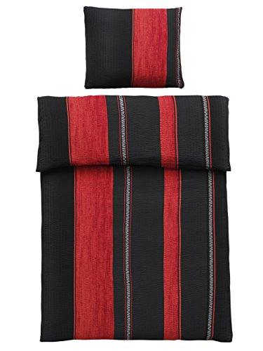 4-Teilig Microfaser Seersucker Bettwäsche schwarz, rot mit Reißverschluss 2x 135×200 Bettbezug + 2x 80×80 Kissenbezug , Öko-Tex Standart 100