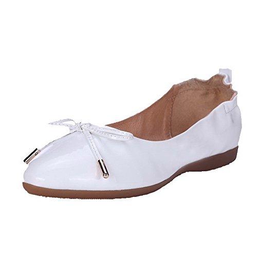 AgooLar Femme Rond Tire Pu Cuir Couleur Unie à Talon Bas Chaussures à Plat Blanc