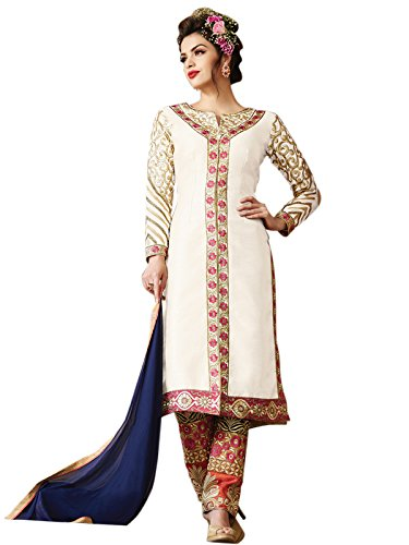 Kanchnar Women's Raw Silk Embroidered Off-White Party Wear Un-stitched dress material