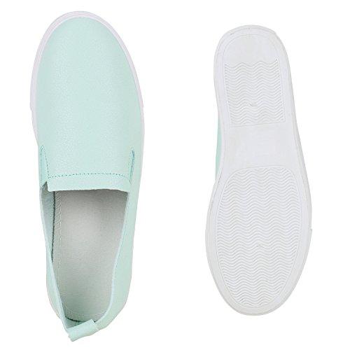 Damen Sneakers Slip-ons Sportliche Slipper Freizeit Schuhe Hellgrün