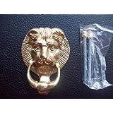 "Ironmongery World 4"" / 100mm Solid Brass Lions Lion Head Door Knocker Traditi..."