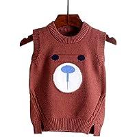MAJIA Chaleco De Punto De Los Niños Chaleco De Lana con Capucha Bebé Tejer para Niñas Y Niños Otoño 2018 New-Brown Bear, 110 Cm