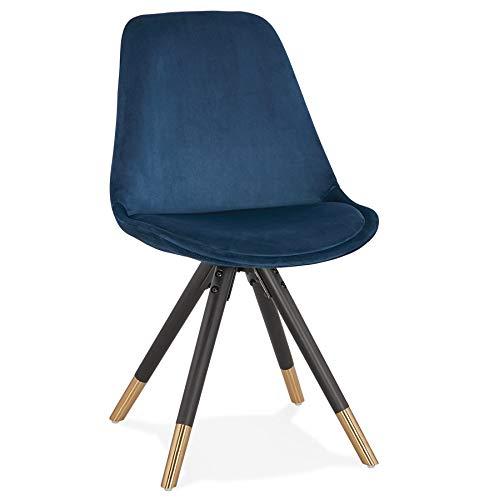 Alterego Chaise Design 'Hamilton' en Velours Bleu et Pieds en Bois Noir