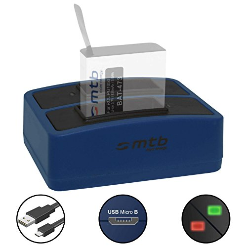 Dual-Ladegerät (USB) für Rollei Actioncam 430 (4k Full HD WiFi) - inkl. Micro-USB-Kabel (2 Akkus gleichzeitig ladbar)