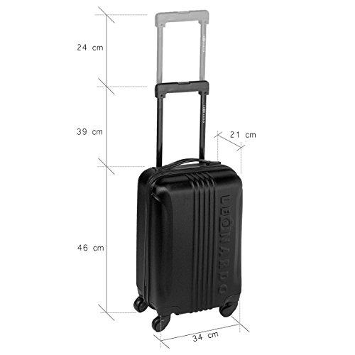Boardcase Handgepäck Tasche - ABS Boardcase Hartschale Koffer Trolley Reisetrolley - 31,5L - ca. 2,4 KG (Schwarz) Schwarz