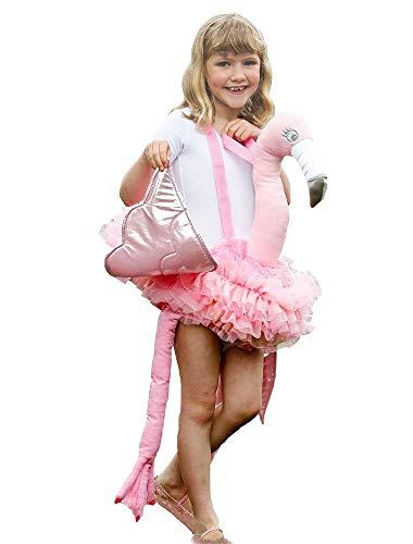 shoperama Ride On Kostüm Flamingo Kinder Straßenkarneval Mädchen Trag Mich Zoo Tier Vogel Flügel Tutu Step-In Huckepack