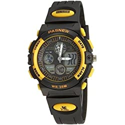 PASNEW Double movement digtal watch. Student outdoor leisure climbing diving sports watch -yellow