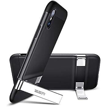 ESR Coque pour iPhone XS/X Noir, Coque Silicone Matte avec Support Béquille Métal Multi-Angles