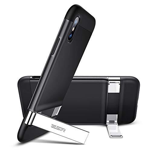 ESR Kompatibel mitiPhoneX/XS Hülle, Multi-Winkel Metallständer Bumper Case Horizontale vertikale Visualisierung Handyhülle Doppelschicht Stoßfest Schutzhülle für iPhoneXS/X 5.8 Zoll - Schwarz