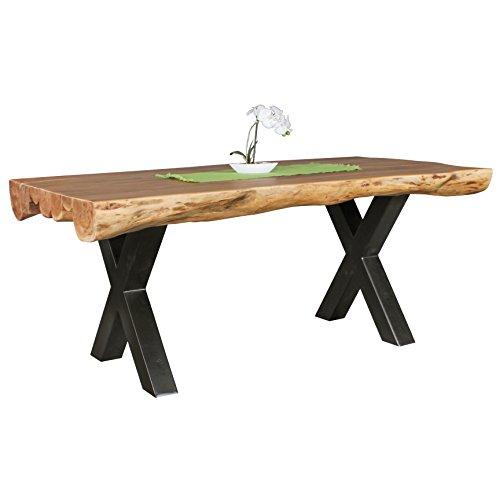 Wohnling Esszimmertisch 180 x 90 x 77 cm Akazie Landhaus-Stil Voll-Holz | Design Esstisch rechteckig | Tisch für Esszimmer Baumstamm | Küchentisch 6-8 Personen