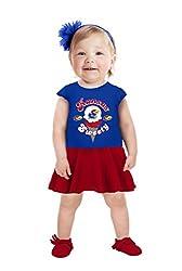 NCAA Kansas Jayhawks Girls Toddler Short Sleeve Full Skirt Dress, 3 Tall, Royal