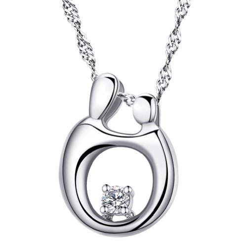 Chaomingzhen Women Sterling Silver Rhodium Plated Cubic Zirconia Mother and Child Pendant Necklace