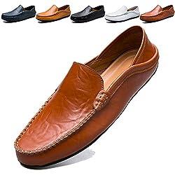 KAMIXIN Mocasines Hombres Zapatos de Vestir Casuales Holgazanes Slip On Verano Plano Cuero Zapatos de Conducción Zapatillas Marrón 40EU