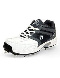 Feroc White Grey T20 Light Weight Cricket Spikes Shoes