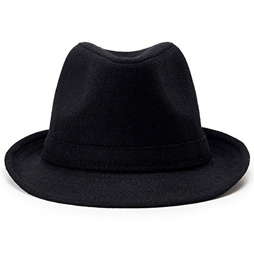 assischer runder Top Hard Roll Up Wollfilz Hut, Black, medium 58cm ()