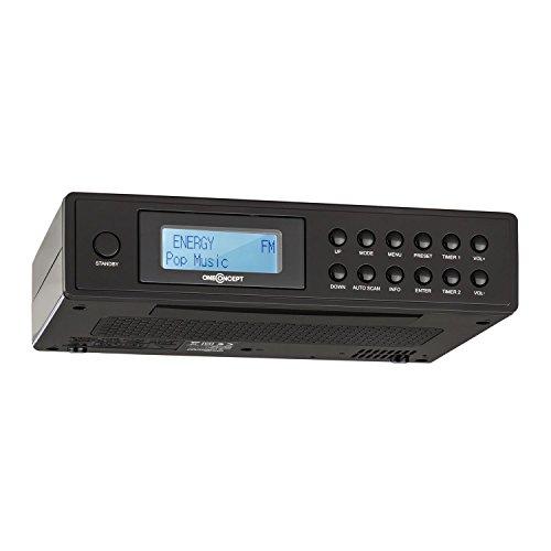 OneConcept KR-120 • Radio de Cuisine • Radio encastrable • Dab+/FM • 20 mémorisations • Recherche Automatique et Manuelle • LCD • rétroéclairage • 2 alarmes • Enceintes • antenne télescopique • Noir