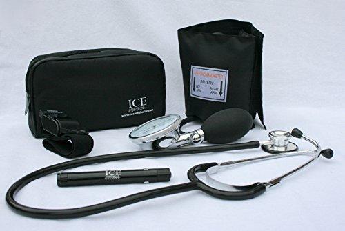 ICE Medical Allgemeinarzt-Set, Schwarz, Aneroid-Blutdruckmessgerät, Stethoskop, Leuchtstift, Adernpresse -