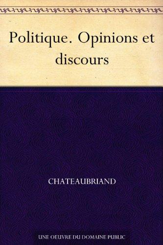 Couverture du livre Politique. Opinions et discours