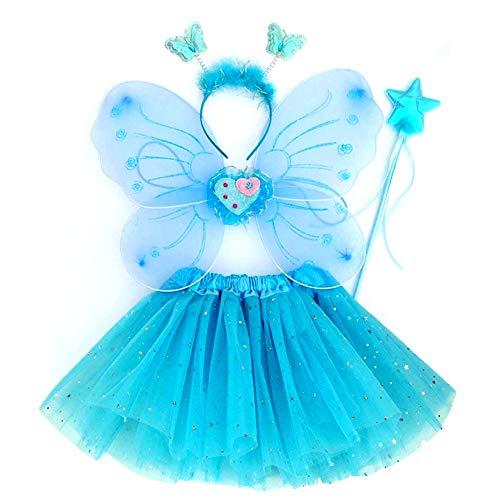 EQLEF Fee Kostüm Kinder, Tutu und Flügel Stirnband Set Schmetterlingsflügel Fee Prinzessin Kostüm für Mädchen Party Kostüm Blau - Set von 4 - Blauer Schmetterling Flügel Kostüm