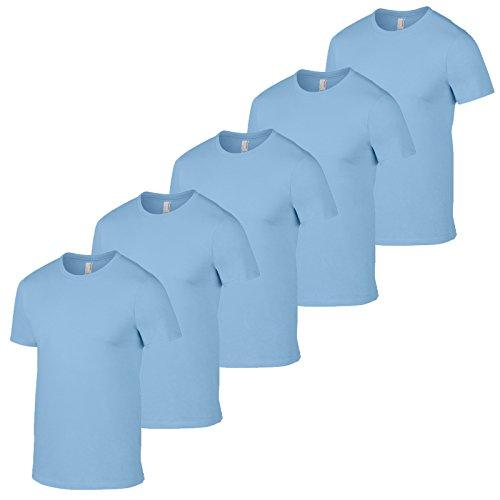 GILDAN Herren T-Shirt Weiß Weiß Hellblau