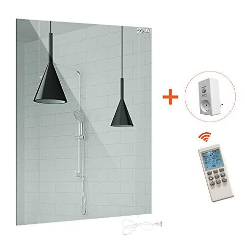 Infrarotheizung mit Thermostat Spiegelheizung mit Ein-/Ausschalter Spiegel Heizung 450W Infrarot Wandheizung Heizplatte Heizpaneel Elektrisch Energieeinsparend Carbon Crystal mit CE RoHS