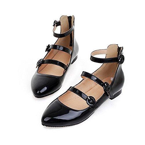 AllhqFashion Femme Zip Pu Cuir Pointu à Talon Bas Couleur Unie Chaussures Légeres Noir
