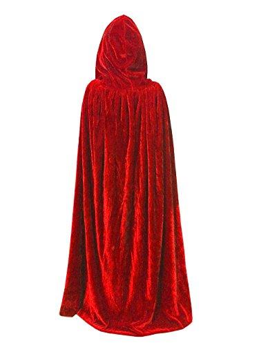Umhang Karneval Fasching Kostüm Cape Vampir Cosplay mit Kapuze Einheitsgröße für Kinder von ca. 8-10 Jahre Unisex von (Rot) (Kostüme Mit Roten Umhang)