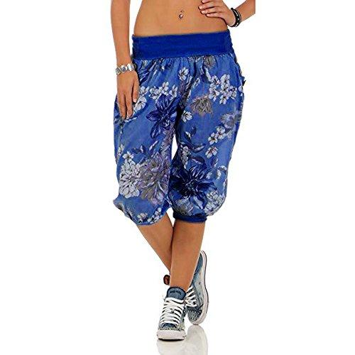 VRTUR Damen Yogahose Pumphose in Unifarben | lässige Kurze Hose | Bermuda für den Strand | Haremshose Sommer 3/4 Yogahose Aladinhose Pluderhose Stoffhose(XXXXX-Large,Blau) - Gestreifte Leinen-pants