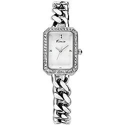 Alienwork Quartz Watch bracelet chain warp Wristwatch nacre Rhinestone Metal silver silver YH.KW6029S-02