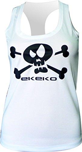 CAMISETA MUJER EKEKO PIRATA , camiseta ajustada de tirantes, espalda nadadora, perfecta para todo tipo de deportes. running, crossfit, gym, yoga y deportes (L, BLANCA)
