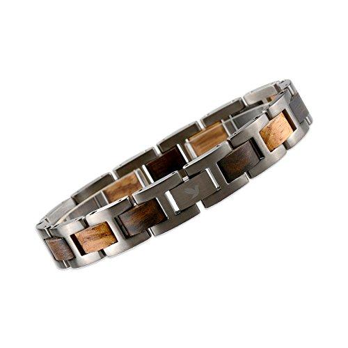 TIGER - Armband aus Holz und Edelstahl | Herren Armband | Zebrano Sandelholz und hochwertigem Edelstahl | Zubehör Mode Schmuck | Made in Italy | Geschenk | Jahrestag Geburtstag Abschluss | Woodstar