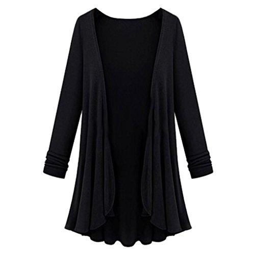 Strickjacken Cardigan Damen Strickmantel Ronamick Langarm Lang offene Einfarbig Mantel Outwear Top Bluse (Schwarz, L)