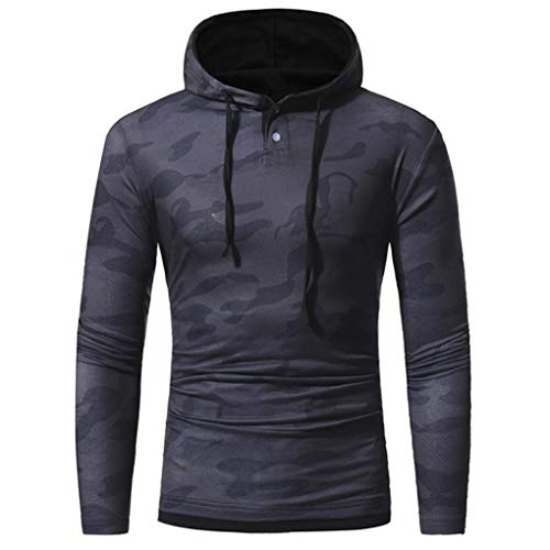 Preisvergleich Produktbild Herren Pullover Herren Herbst Winter Casual Camouflage Slim Fit Langarmshirt Hoodie Top Bluse Oberteile Sweatshirt Kapuzenpullover Super Coole Sweatshirt Longsleeve Streetwear(Grau, XL)