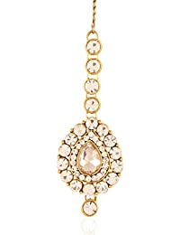 I Jewels Traditional Gold Plated Maang Tikka for Women T007W (White)