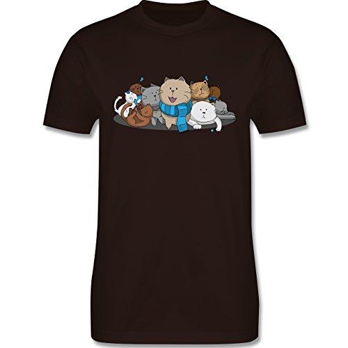 Katzen - süße Katzen - Herren Premium T-Shirt Braun