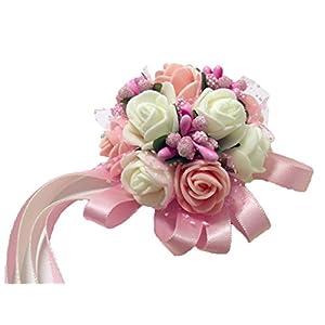 Westeng lazo decorativo con flores para boda, fiesta. Lazo para dama de honor de la novia en color perla (1 unidad…