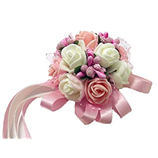 Westeng lazo decorativo con flores para boda, fiesta. Lazo para dama de honor de la novia en color perla (1 unidad), Rosa, 3.5cm * 6cm