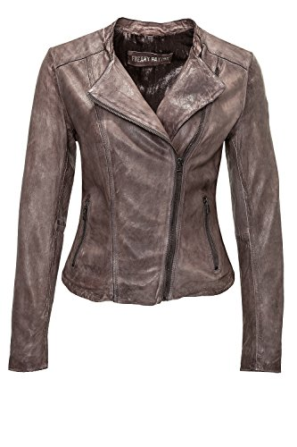Freaky Nation Damen Lederjacke Chelsea FN20891 (S, Mud 8101)